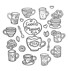 Monochrome set with tea accessories isolated on vector