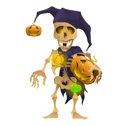 Skeleton in the hat of harlequin with pumpkin vector