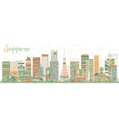 Abstract sapporo skyline with color buildings vector