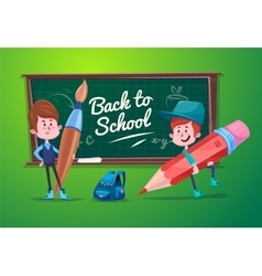 Back to school Cute schoolchild at a lesson near vector image