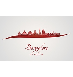 Bangalore skyline in red vector image vector image