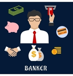 Banker and financial flat icons vector