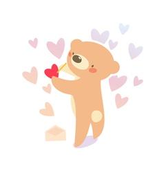 bear writing love letter vector image