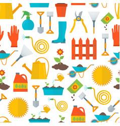 cartoon gardening equipment background pattern vector image vector image
