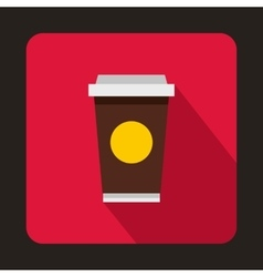 Coffee in take away cup icon flat style vector image
