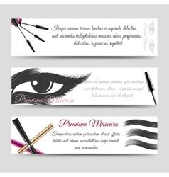 Cosmetics horizontal banners mascara vector image vector image