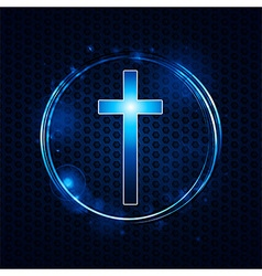 Cross over mesh glowing circle vector image vector image