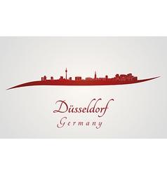 Dusseldorf skyline in red vector image