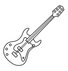 Electric guitar icon outline style vector