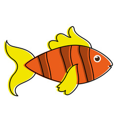 fish yellow orange sideview colorful icon image vector image vector image