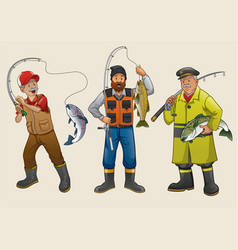 fisherman people cartoon set vector image