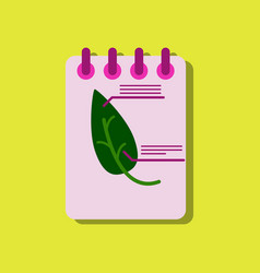 Flat icon design collection notebook and leaf in vector