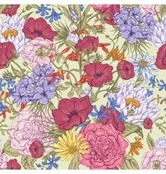 Gentle retro summer seamless floral pattern vector