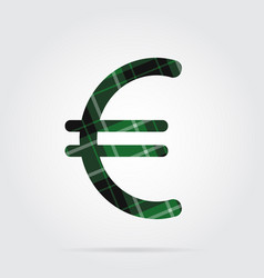 Green black tartan icon - euro currency symbol vector