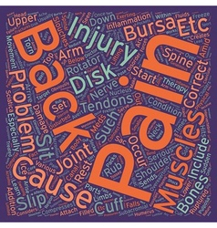 Injuries and back pain text background wordcloud vector