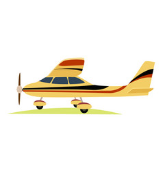 Modern yellow aeroplane on white background vector