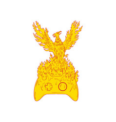 Phoenix rising fiery flames over game controller vector