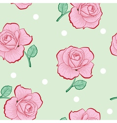 Pink roses and white dots on green seamless vector image vector image