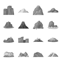 Rock peak volcano and other kinds of mountains vector