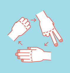 rock scissors paper gestures stylized hands in vector image vector image