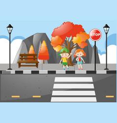 Scene with kids crossing street vector