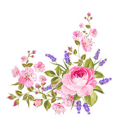 Spring flowers garland vector