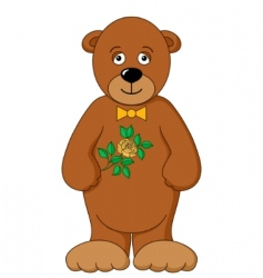 teddy bear with flower vector image vector image