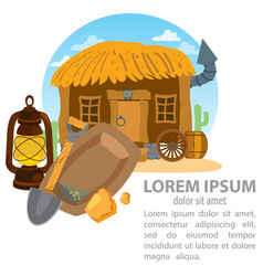thatched hut goldfield pick and oil lamp design vector image vector image