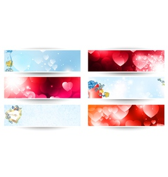 valentines web banner set vector image vector image