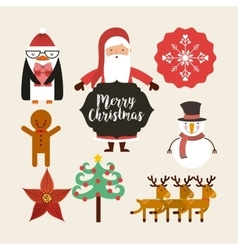 set figures happy merry christmas card vector image