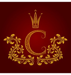 Patterned golden letter C monogram in vintage vector image
