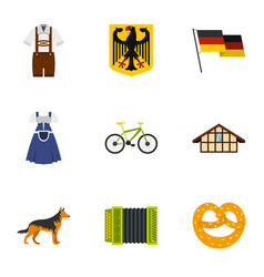 Germany travel icons set flat style vector
