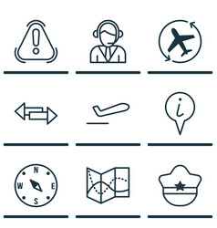 Set of 9 travel icons includes siren info vector