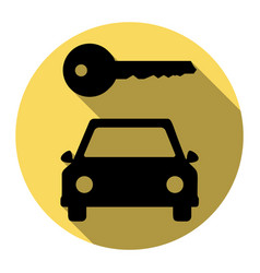 car key simplistic sign  flat black icon vector image