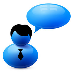 Icon of person with speech bubble vector