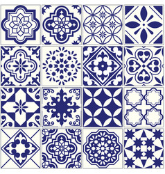 Seamless tiles pattern mediterranean floral mosai vector