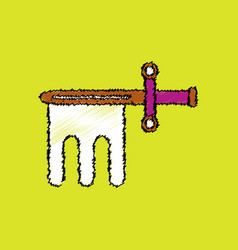Flat shading style icon ancient weapon sword vector