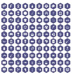 100 south america icons hexagon purple vector