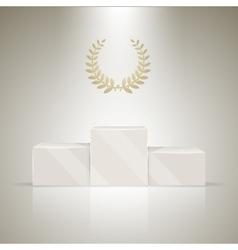 Sport winners pedestal with laurel wreath vector