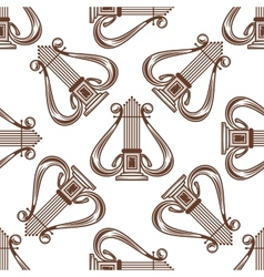 Seamless musical harp pattern vector