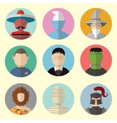 Set of circle icons characters from fairy tales vector