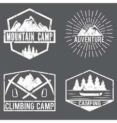 Set of vintage labels mountain adventure and vector