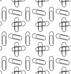 Black white paperclips seamless pattern vector
