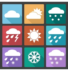 Colored square icons set of weather forecast vector