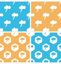 Thunderbolt pattern set colored vector