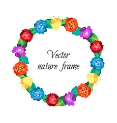 Floral wreath from beautiful colorful flowers vector
