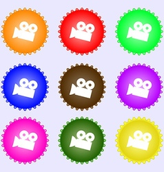 Video camera sign icon content button a set of vector
