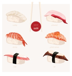 Sushi set japanese food vector