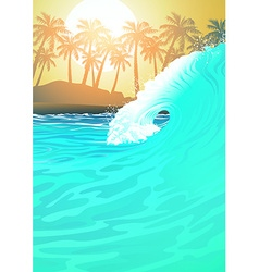Surf wave at the beach at sunrise vector