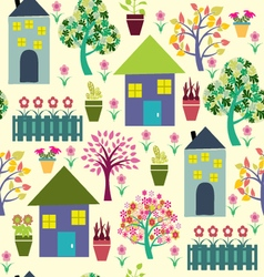 Houses and different plants vector